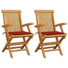 Chaises de jardin avec coussins rouge 2 pcs Bois de teck massif