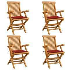 Chaises de jardin avec coussins rouge 4 pcs Bois de teck massif