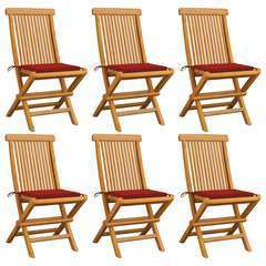 Chaises de jardin avec coussins rouge 6 pcs Bois de teck massif