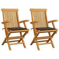 Chaises de jardin avec coussins taupe 2 pcs Bois de teck massif