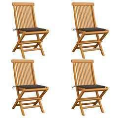 Chaises de jardin avec coussins taupe 4 pcs Bois de teck massif