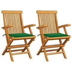 Chaises de jardin avec coussins vert 2 pcs Bois de teck massif
