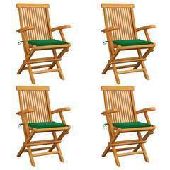 Chaises de jardin avec coussins vert 4 pcs Bois de teck massif