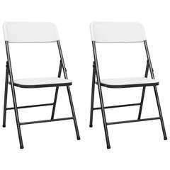 Chaises de jardin pliables 2 pcs PEHD Blanc