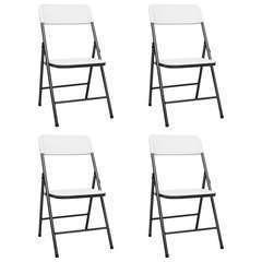 Chaises de jardin pliables 4 pcs PEHD Blanc