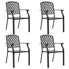 Chaises d'extérieur 4 pcs Design maillé Acier Noir