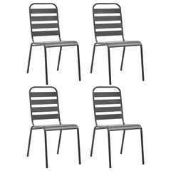 Chaises d'extérieur 4 pcs Design à lattes Acier Gris foncé