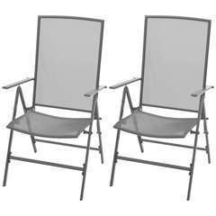 Chaises empilables de jardin 2 pcs Acier Gris