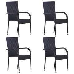 Chaises empilables d'extérieur 4 pcs Résine tressée Noir