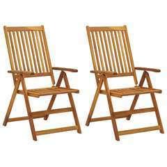 Chaises inclinables de jardin 2 pcs Bois solide d'acacia