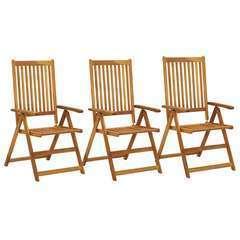 Chaises inclinables de jardin 3 pcs Bois solide d'acacia