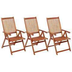 Chaises pliables de jardin 3 pcs Bois d'acacia solide