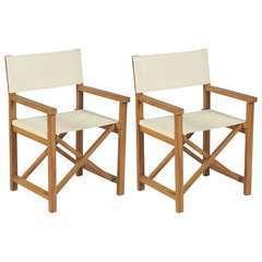 Chaises pliables de metteur en scène 2 pcs Bois de teck solide