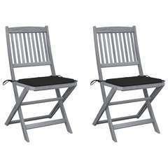 Chaises pliables d'extérieur 2 pcs avec coussins Bois d'acacia
