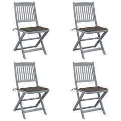 Chaises pliables d'extérieur 4 pcs avec coussins Bois d'acacia
