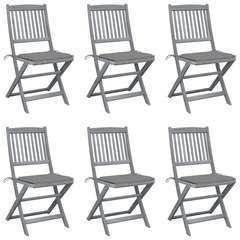 Chaises pliables d'extérieur 6 pcs avec coussins Bois d'acacia