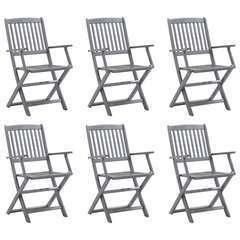 Chaises pliables d'extérieur 6 pcs Bois d'acacia solide
