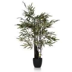 Bambou Zen artificiel 5 cannes noires 180CM