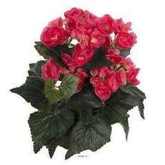 Begonia artificiel Rose jaune en pot H 28