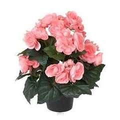 Begonia artificiel Rose tendre en pot H 28