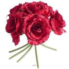 Bouquet de 6 roses Lena artificielles H 20