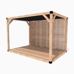 Pergola en bois La Confidentielle toit voile d'ombrage - 9m²