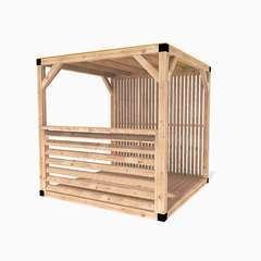 Pergola en bois La Festive toit canisse – cloison claire - 6m²
