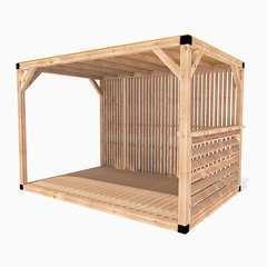 Pergola en bois La Festive toit canisse – cloison claire - 9m²