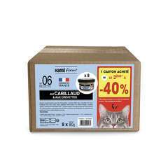Les cuisinés pour chat recette n°6 Cabillaud/Crevettes 8x80G