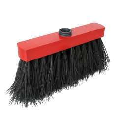 Balai en fibre de piassava et bois Noir et rouge - 25 cm