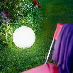 Boules solaires SOLSTY blanc plastique - 30cm - Lot de 2