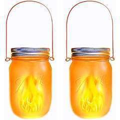 Lanternes solaires JAMY FLAME transparent verre - H14cm - Lot de 2