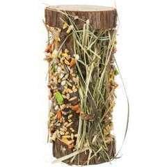 Tour en bois avec foin et barre croutillante pour rongeurs - 110 g