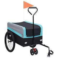 Remorque poussette à vélo 2en1 pour animaux XXL Bleu