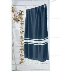 Fouta Bornéo lignes bleu coton - 100x190 cm