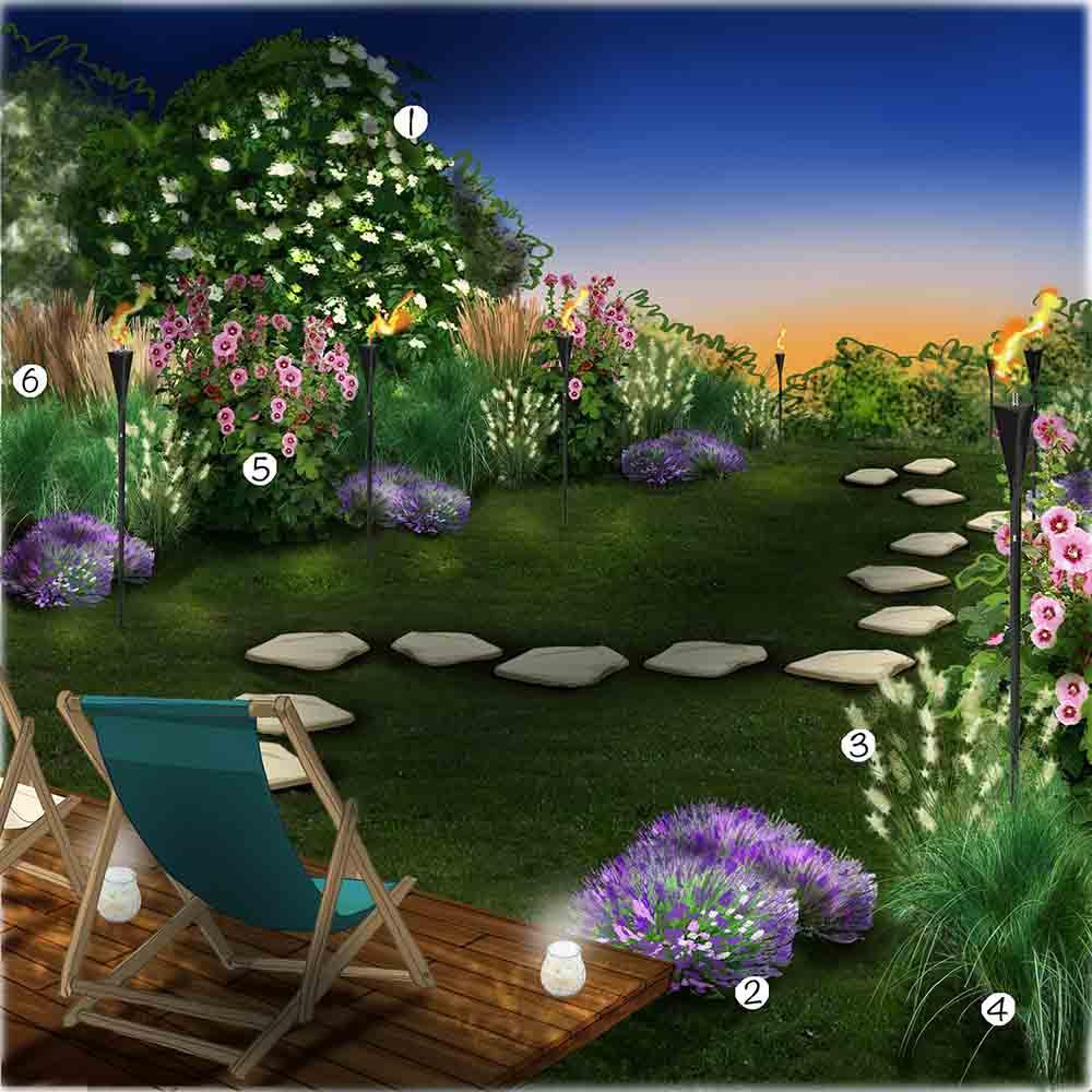 Jardin résidence secondaire la nuit