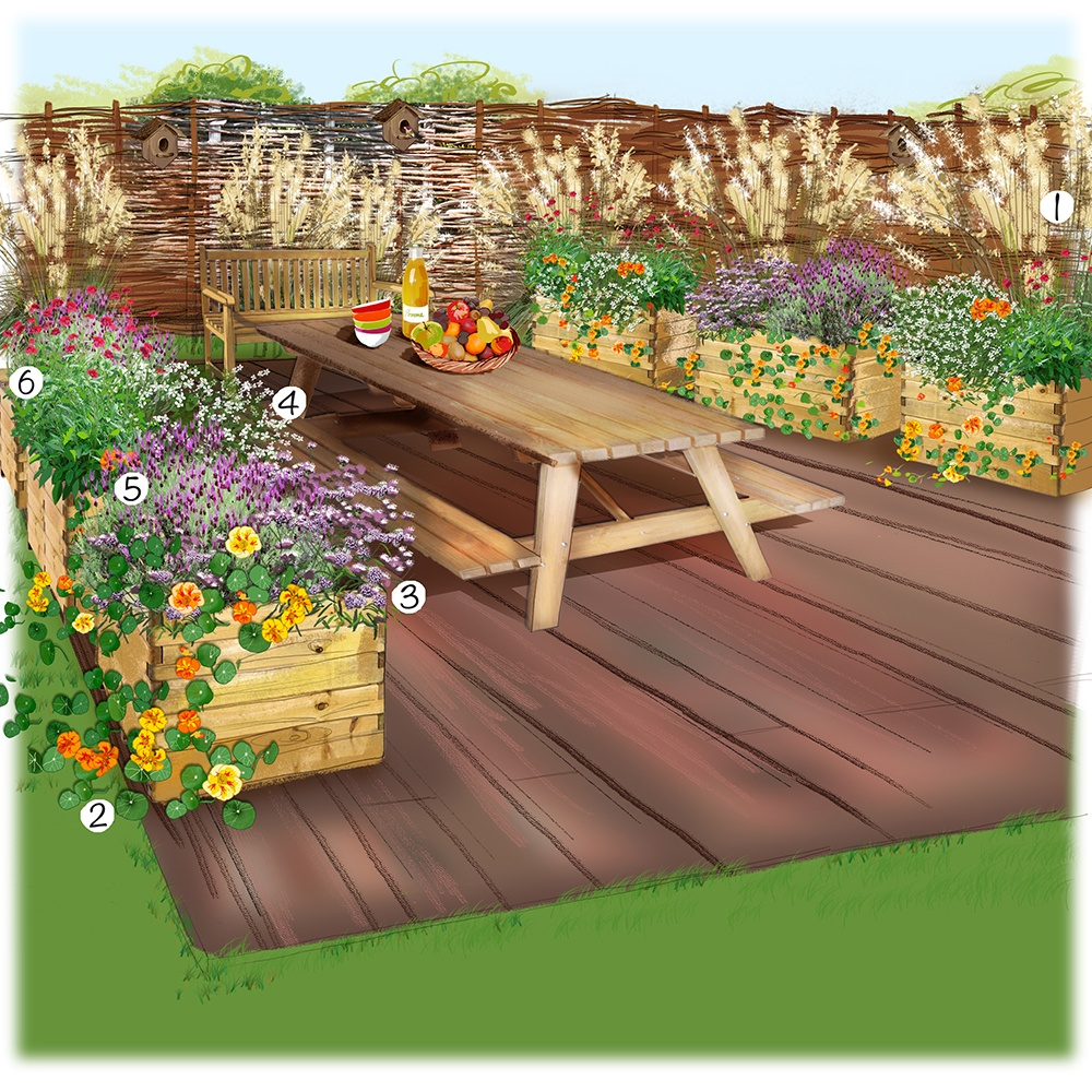 Terrasse écolo au jardin
