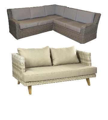Canapé de jardin d'angle et canapé de jardin droit
