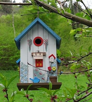 nichoir oiseaux décoré