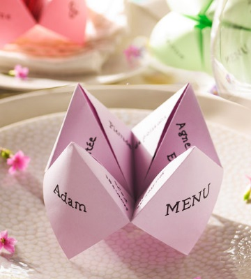 menu mariage cocotte en papier