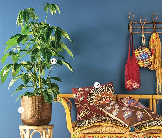 10. Schefflera actinophilla 'Amate' En pot Ø 24 cm. H. 90-100 cm (826878) - 11. Cache-pot Jort En zinc martelé. De Ø 23 à 38 cm. Coloris marron (851267 à 270) - 12. Coussin Charming L. 50 x l. 50 cm. Coloris marron ou rose (837083-084)