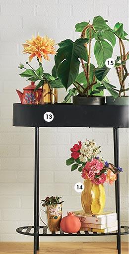 13. Jardinière Melle En métal. L. 59,5x H. 70 cm. Coloris noir (837222) - 14. Vase Hilary En céramique H. 18 cm (838740) - 15. Philodendron squamiferum En pot Ø 15 cm (870238)