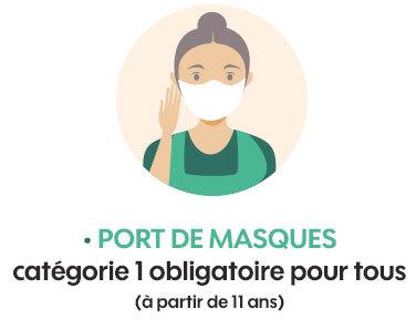 Port de masques catégorie 1 obligatoire pour tous (à partir de 11ans)